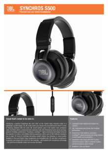 Specification Sheet JBL Synchros S500