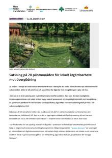 Satsning på 20 pilotområden för lokalt åtgärdsarbete mot övergödning