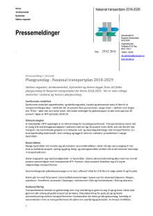 Pressemeldinger - Plangrunnlag - Nasjonal transportplan 2018-2029