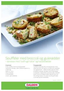 """Opskrift: Soufflé med broccoli og gulerødder. Serveres med """"rodfrugt-tartar"""" og hasselnødder"""