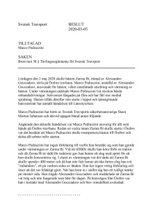 Svensk Travsports dom mot Marco Pedrazzini