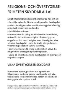 Flygblad för manifestation för religions- och övertygelsefrihet