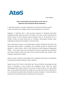 Atos in Asia Pacific honored Partner of the Year at  OpenText 2013 Enterprise World Conference