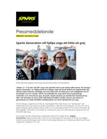Pressmeddelande: Ny digital kanal hjälper unga hitta sin grej  - idag lanseras Sparks Generation
