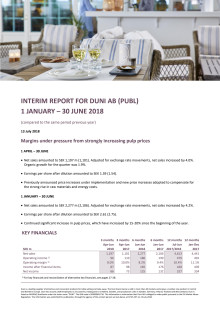 INTERIM REPORT FOR DUNI AB (PUBL) 1 JANUARY – 30 JUNE 2018