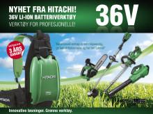 NYHET! Jobb inntil 10 ganger lengre med kraftig 36V batteripakke for Hitachi skog og hageverktøy (36V)
