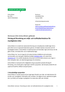Gröna Bilisters remissvar: förslag till förordning om miljö-och trafiksäkerhetskrav för myndigheters bilar