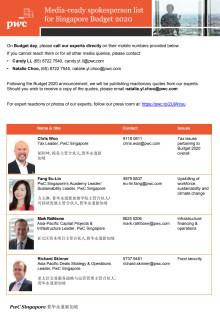 Singapore Budget 2020 - PwC's media spokespersons list