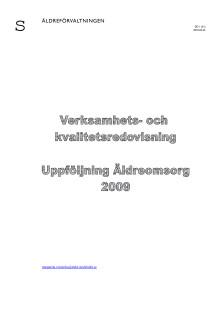 Verksamhets- och kvalitetsredovisning äldreomsorg 2009