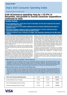 Irish eCommerce spending rises by +15.4% in December, but growth in overall consumer expenditure continues to slow