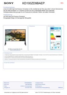 Datenblatt BRAVIA KD-100ZD9BAEP von Sony