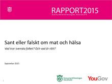 Rapport: Sant eller falskt om mat och hälsa