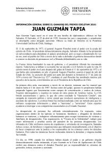 INFORMACIÓN GENERAL SOBRE EL GANADOR DEL PREMIO EDELSTAM 2016: JUAN GUZMÁN TAPIA