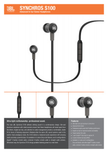 Specification Sheet JBL Synchros S100