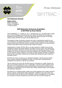 ACR Electronics Announces Acquisition  of SKYTRAC by Drew Marine
