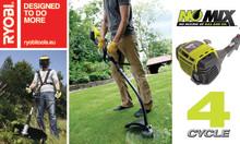 Ryobi® bensindrivna trädgårdsmaskiner – kompakt och miljövänlig 4-takts kraft!