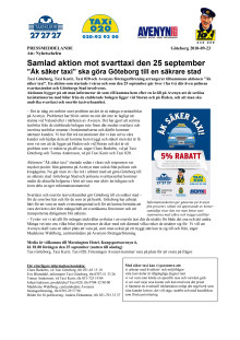 PM Samlad aktion mot svarttaxi den 25 september