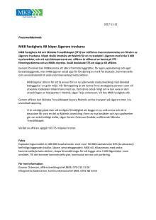 Pressmeddelande 2017-11-21: MKB Fastighets AB köper Jägersro travbana