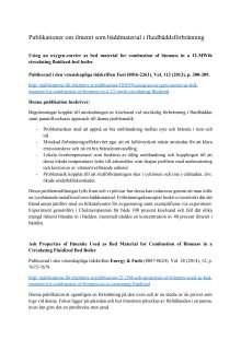 Publikationer om ilmenit som bäddmaterial i fluidbäddsförbränning