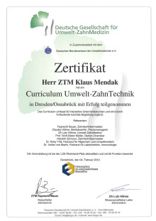 Klaus Mendak: 'Curriculum Umwelt-ZahnTechnik'