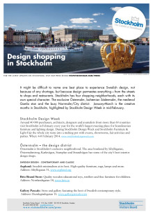 Facts: Design shopping in Stockholm