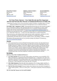 Pressmeddelande - Cisco Connected World Technology Report