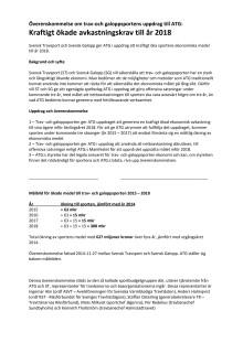 Svensk Travsport och Svensk Galopps avkastningskrav på ATG från 2014
