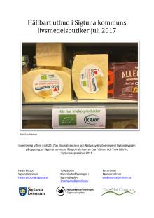 Hållbart utbud i Sigtunas livsmedelsbutiker, juli 2017