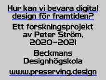 Bevarandet av digital design nytt forskningsprojekt vid Beckmans Designhögskola