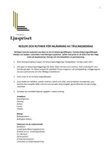 Tävlingsregler Svenska Ljuspriset