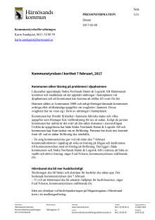Kommunstyrelsen i Härnösand i korthet den 7 februari 2017