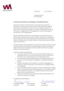 Värmlands Museums styrelses yttrande med anledning av Riksutställningars utredning