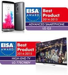 """LG:s OLED-TV PRISAS AV EISA FÖR TREDJE ÅRET I RAD OCH LG G3 UTSES TILL """"ADVANCED SMARTPHONE 2014-2015"""""""