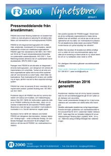 Nyhetsbrev FR2000 mars 2016