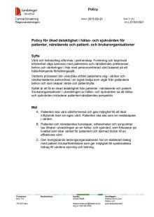 Policy för ökad delaktighet
