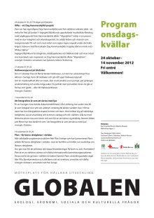 Globalen, program onsdagskvällar okt-nov 2012