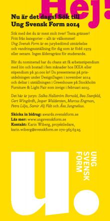 Ung Svensk Form 2014 – flyer