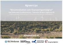 """Inbjudan till #greenUps höstmöte 11/10 på temat """"Börsintroduktion som finansieringsmöjlighet"""""""