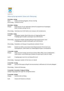 Program för resan till Kina oktober-november 2017
