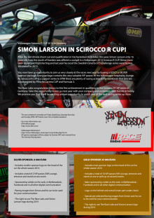 Sponsor Package for Volkswagen Scirccco R CUP in Germany Simon Larsson
