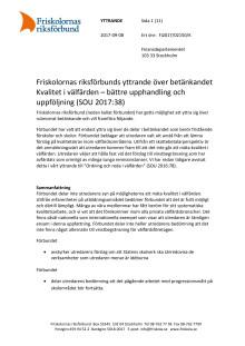 Friskolornas riksförbunds yttrande över betänkandet Kvalitet i välfärden – bättre upphandling och uppföljning (SOU 2017:38)