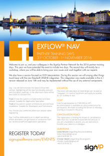 Invitation ExFlow NAV Partner Training Days 2016