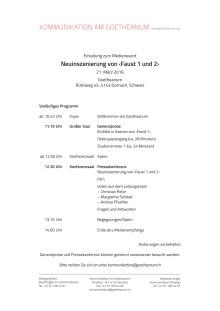 """""""Faust 1 und 2"""": Medienevent am 21. März am Goetheanum (vorläufiges Programm)"""