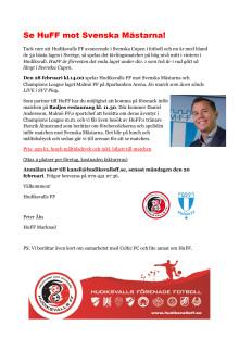 Inbjudan till sponsorlunch på Radjos före cupmötet mellan HuFF & Svenska Mästarna, Malmö FF