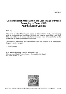 Content Search Made within the Disk Image of Phone Belonging to Taner KILIC And the Expert Opinion