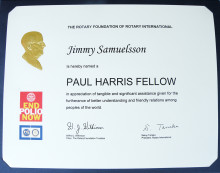 Guldfågelns VD Jimmy Samuelsson har den 14 juni tilldelats Paul Harris Fellow av Rotary Kalmar