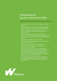 Willhems delårsrapport januari-september 2016