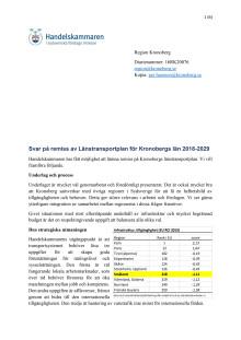 Svar på remiss av Länstransportplan för Kronobergs län 2018-2029