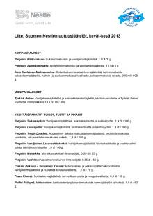 LIITE: Suomen Nestlén jäätelöuutuudet / kevät-kesä 2013