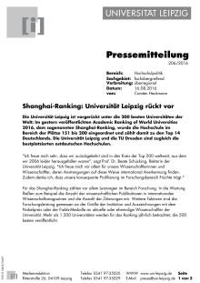 Shanghai Ranking: Universität Leipzig rückt vor